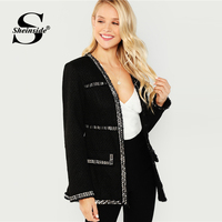 Sheinside Autumn Jacket Women Open Front Coat Casual Clothes Coats And Jackets Ladies Outerwear 2018 Long Sleeve Black Jacket