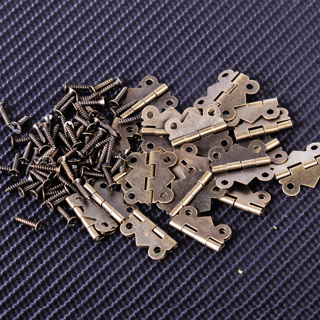 20Pcs DIY Repair Vintage Antique Brass Butterfly Hinge With Screws Bronze For Jewelry Box 20x17mm