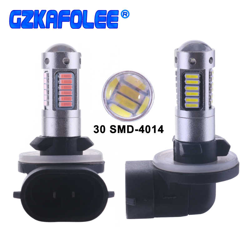 Gzkafolee 880 led 881 h27 Car Lights bulb Fog light White yellow 30 SMD 4014 500LM for BMW