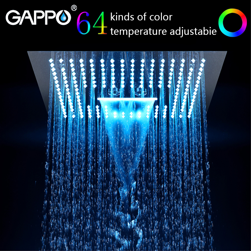 GAPPO shower head stainless steel 400mm*400mm Water Powered Rain Led Shower Head Bathroom shower faucet water mixer цена 2017
