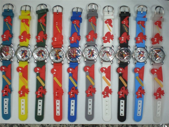 10pcs/lot Wholesales 3D Cartoon Minions Avenger Bikachu Spider-Man..Kids Boys Girls Gifts Watch Quartz Clock Silicone Wristwatch