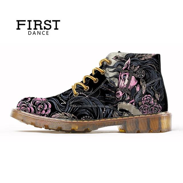 FIRST DANCE 2018 Fashion Mens Skull Shoes For Men Martins Shoes Skeleton Print Black Nice Ankle Shoes Man Oxfords Spring Boot 3