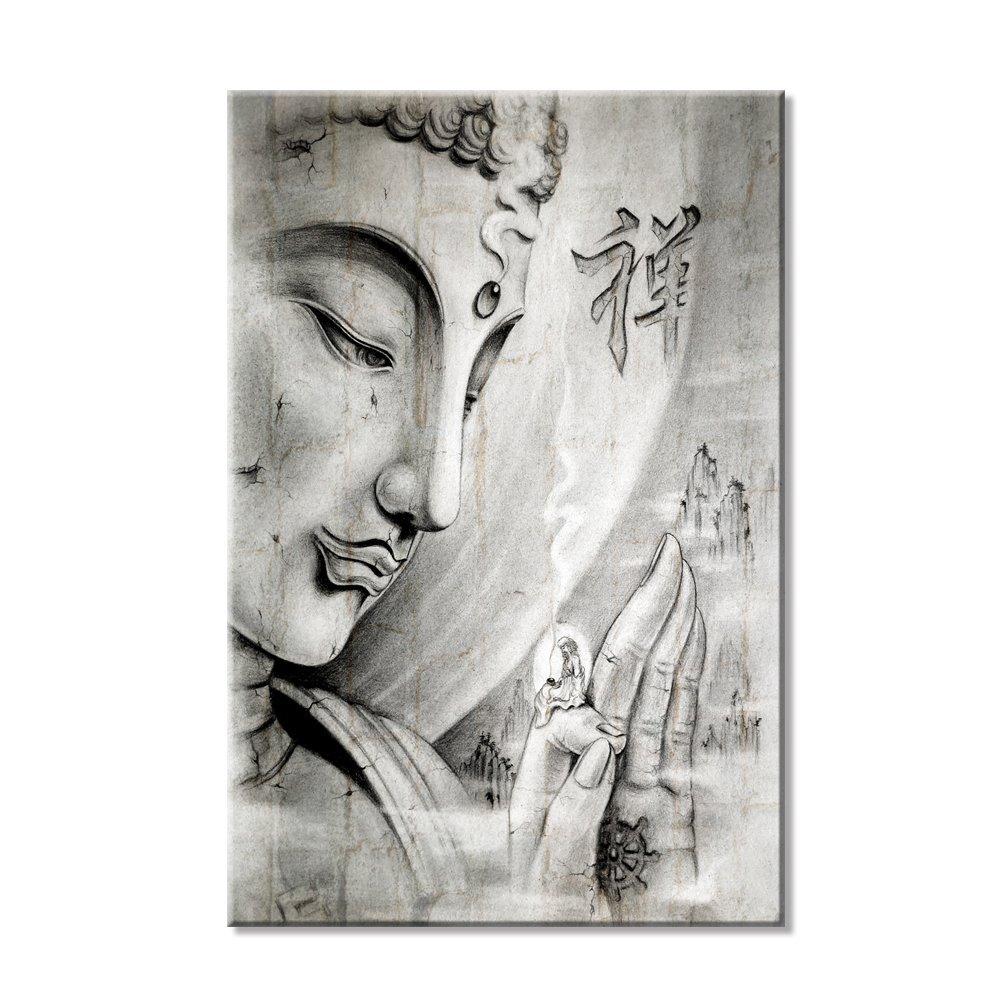 Grey Buddha Large Hd Wall Art Printed Abstract Canvas