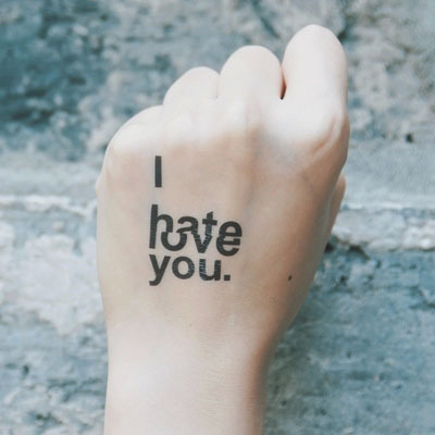Ntt061 I Hate Love You Waterproof Tattoos Love Quotes Temporary