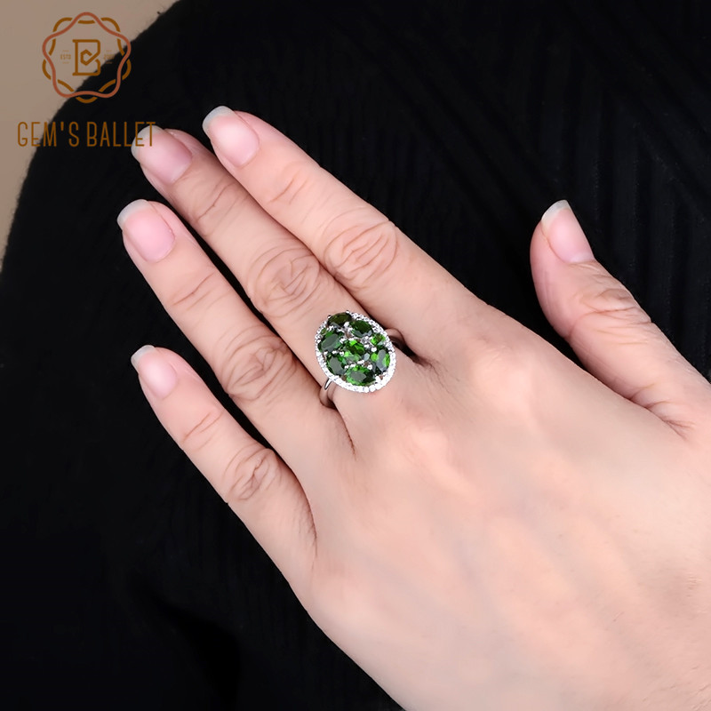 GEM'S BALLET 925 Sterling Silver Oval Cocktail Ring 3.43Ct Natural Chrome Diopside Gemstone Rings Fine Jewelry for Women Gift