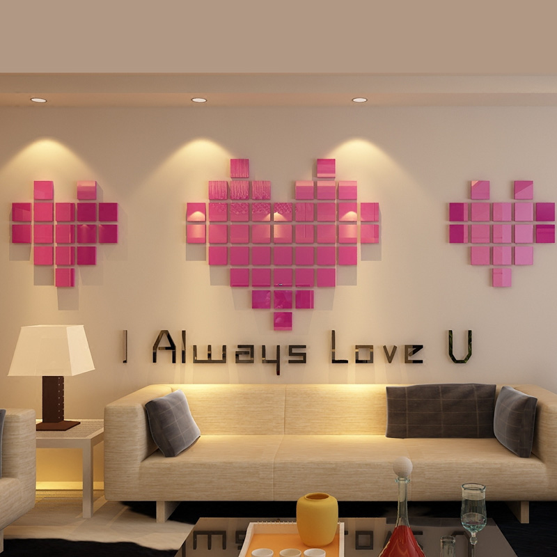 Exceptional Romantic Mosaics Hearts Design Acrylic Stickers DIY LOVE Living Room  Decorations Surprise Wedding Gift  In Wall Stickers From Home U0026 Garden On  ...