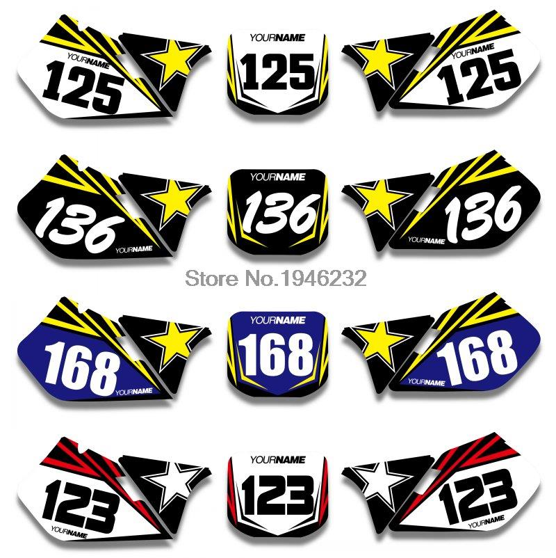 For suzuki rm125 rm250 rm 125 250 1999 2000 custom number plate backgrounds graphics sticker decals in decals stickers from automobiles motorcycles on