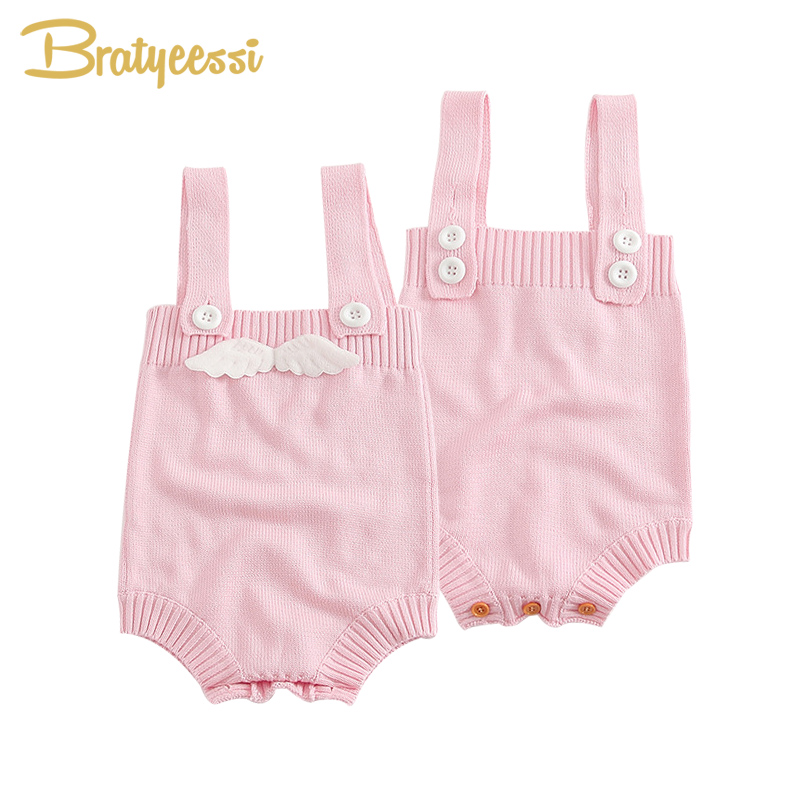 New Baby Girl Romper with Angel Wings Toddler Jumpsuit Spring Knitted Overalls Baby Girl Clothes 1 PC женская куртка every girl is an angel xz123