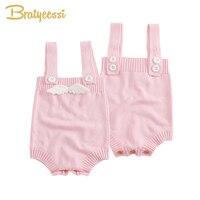 Nouveau Bébé Fille Barboteuse avec Ange Ailes Enfant Salopette Printemps Tricoté Salopette Bébé Fille Vêtements 1 PC