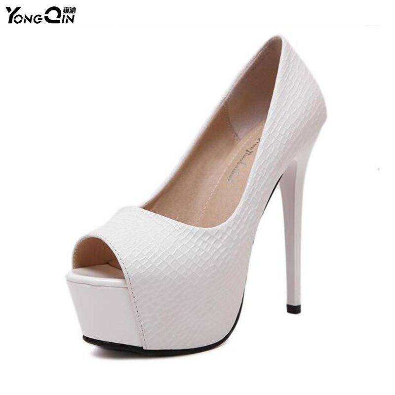 2017 New Sexy Women Pumps Peep Toe High Heels Women Shoes Simple Fine Heels Women's Singles Shoes