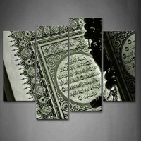 Framed Wall Art Pictures Islam Book Words Canvas Print Religion Modern Posters With Wooden Frames For Living Room Decor
