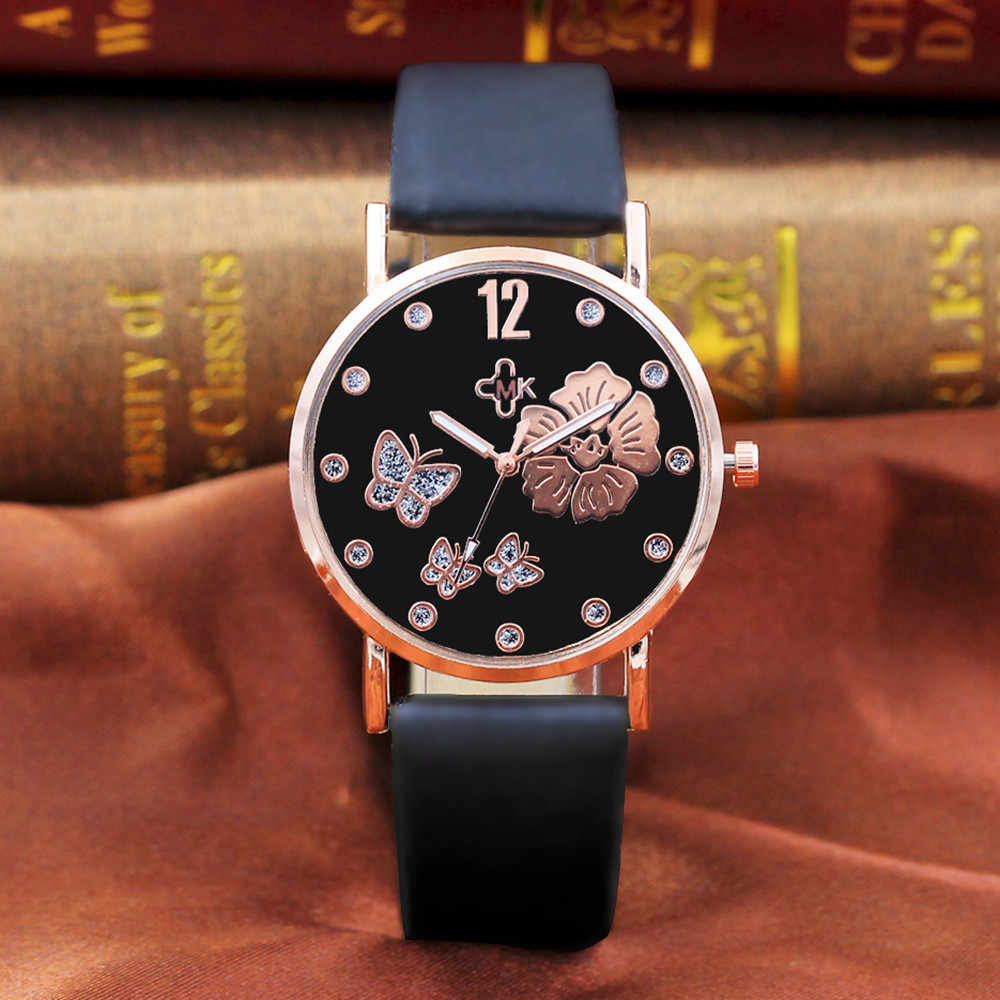 Fashion Women Leather Band Quartz Analog Wrist Watches butterfly Flower 2019 Женские часы Reloj de dama Wd3