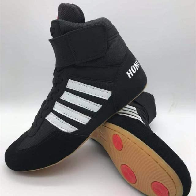Auténtico VeriSign wrestling shoes para hombres zapatos tendones de entrenamiento al final zapatillas de cuero zapatos de boxeo profesional