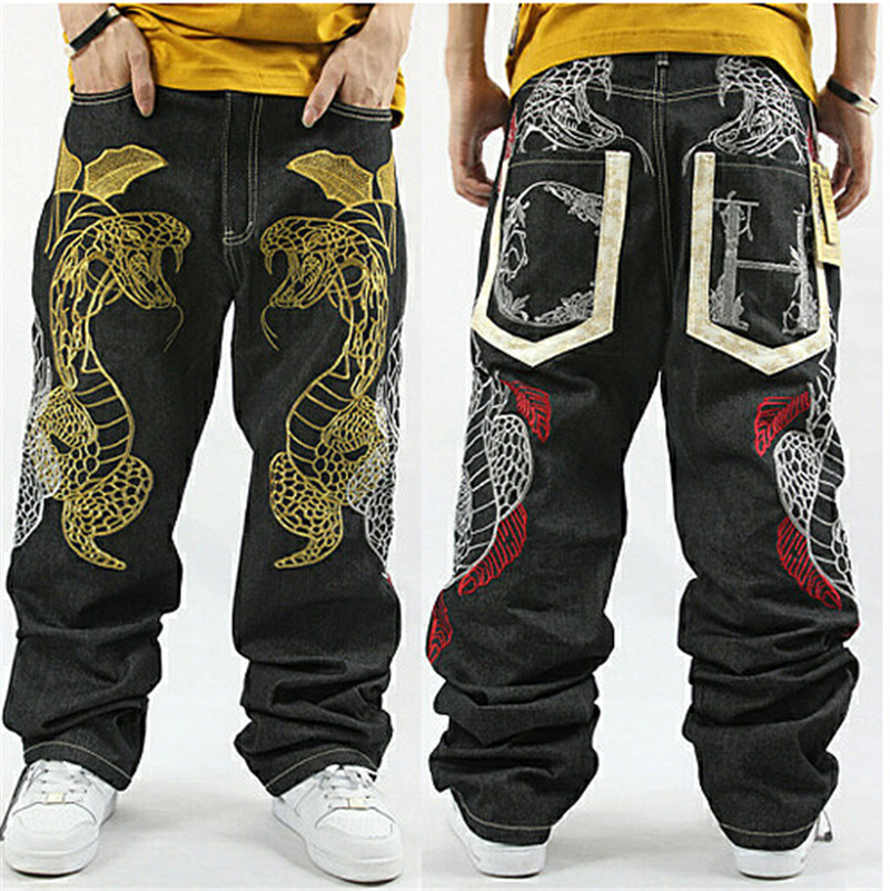 ФОТО American Style  30-44 Loose Pants Baggy Jeans For Men Jeans Men Hiphop Rapper Style Plus Size Men Jeans