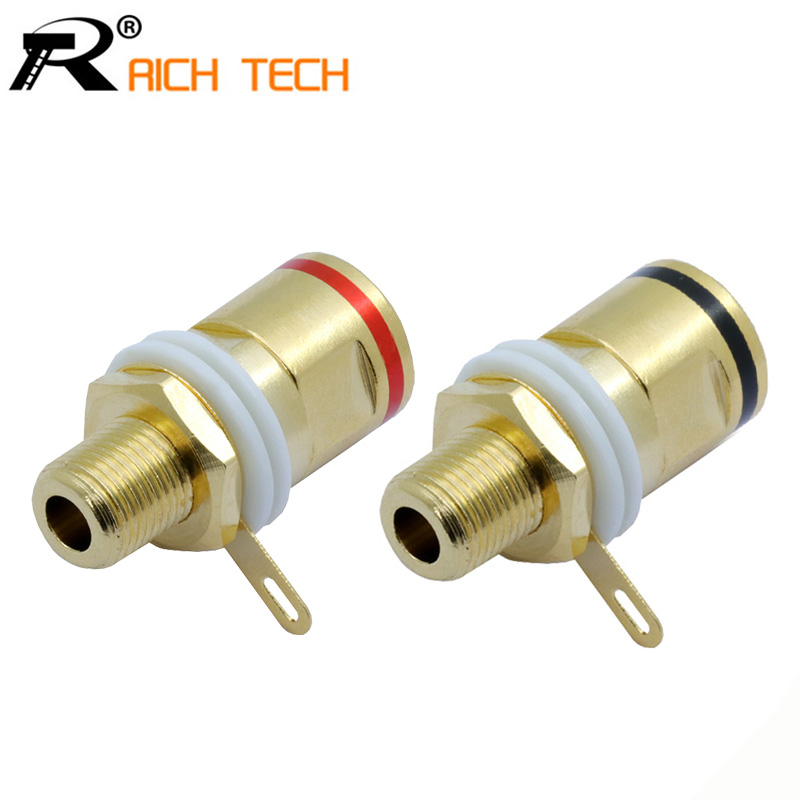 1pair High quality Copper Gold plated Connector Speaker banana plug BINDING POST terminal banana socket for Speaker Amplifier eizz 24k gold plated copper speaker binding post connector terminal hifi diy tube amplifier chassis panel socket connector