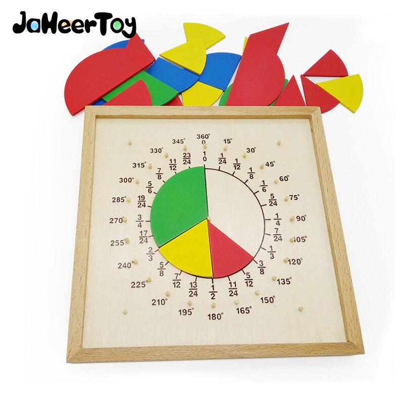 JaheerToy Giocattolo Per Bambini Giocattoli Educativi Montessori Matematica Sussidio Didattico Frazionale Piastra Rapporto Circonferenza di Legno