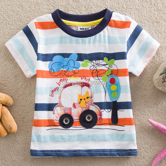 NEAT 2016 new baby boy clothes kids wear Traffic lights car children clothing cartoon short sleeve T shirt  kids T-shirts S8110#