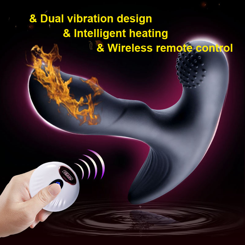 Soft Silicone Remote Control Prostate Massager Smart Heating Anal Vibrator Double Motors Male Masturbator Plug Sex Toys for Men electric prostate massager for treatment of prostatitis urine frequency factory drop shipping male private haealth care