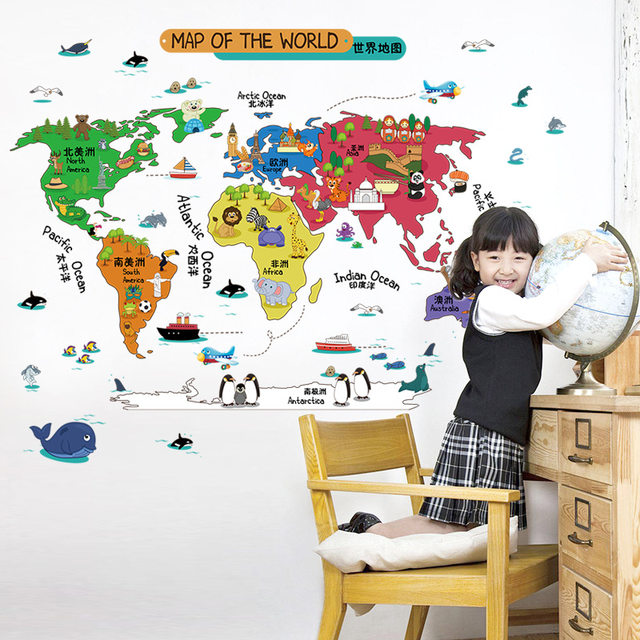 Online shop removable cartoon zoo world map wall stickers decor for removable cartoon zoo world map wall stickers decor for kids room kindergarten nursery book store animals map wallpaper poster gumiabroncs Images