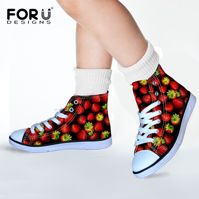 Funky Whimsical Bright Strawberry Print Girls Walking Shoes Orange Watermelon Fruit Design Lightweight Comfort Children Sneaker