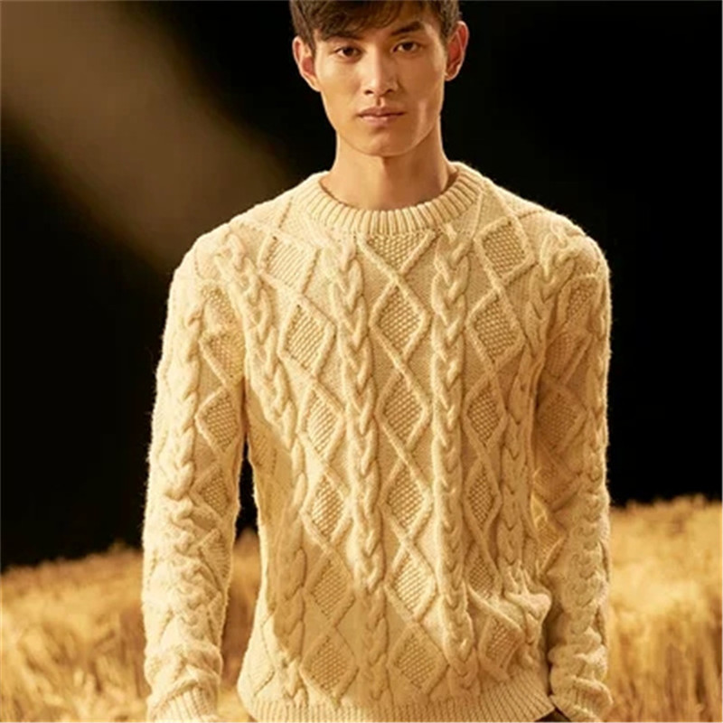 100% Hand Made Pure Wool Thick Knit Men Korean Style Oneck Loose Solid Pullover Sweater White 4color Customized