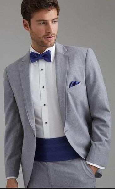 Latest Coat Pant Designs Grey Formal Custom Double Notched Lapel Bridegroom Suit For Men Skinny 2 Pieces Vestidos De Fiesta C