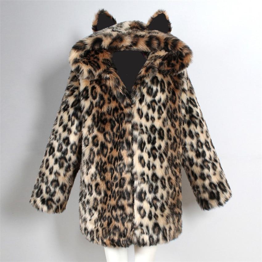 2018 fashion style female imitation fur parka faux fur jacket fur coat warm overcoat cat ears starry black lining thick coat