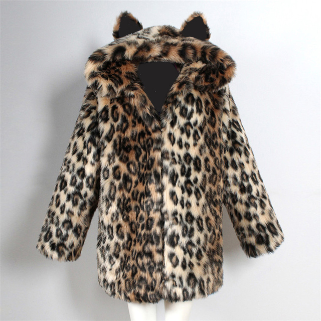 2018 fashion style female imitation fur parka faux fur jacket fur coat warm overcoat cat ears starry black lining thick coat