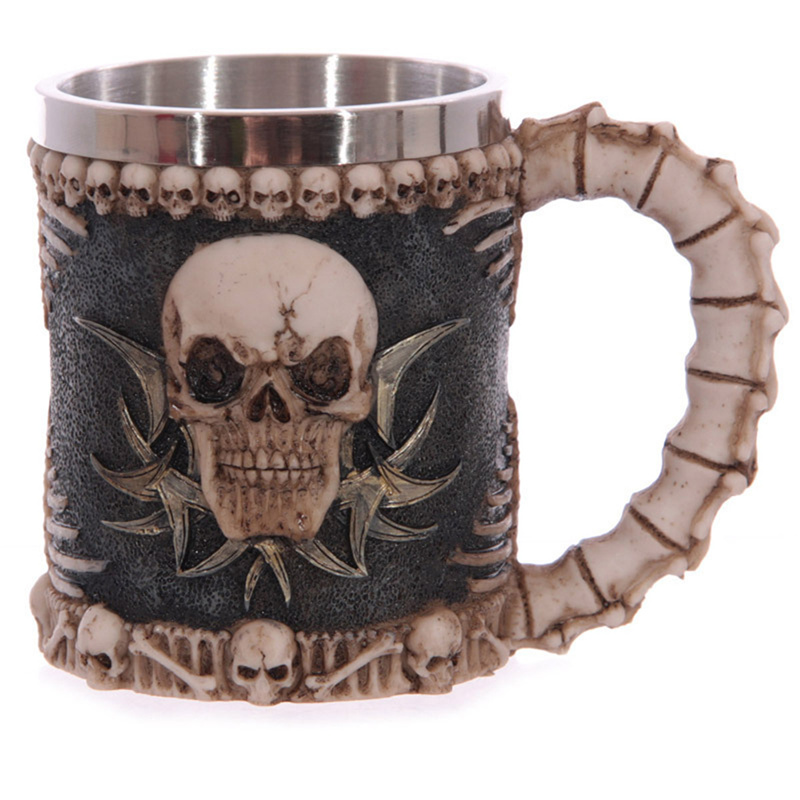 Stainless steel 3D double wall beer coffee skull cups and mugs classic knight wolf dragon mug