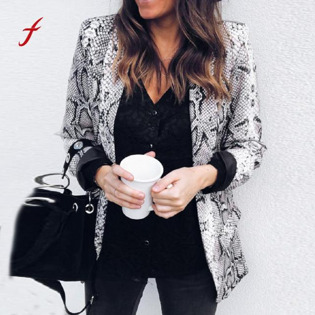 2018 blazer feminino Womens Print Suit Autumn Winter Long Sleeve Coat Fashion Business Suits women blazers and jackets blazer