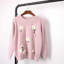 Free Shipping 2016 Black/White/Gray/Blue/Pink Daisy Embroidery Wool Cashmere Blend Women's Sweaters Sweet Autumn Pullovers 92711