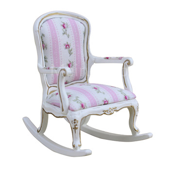 Dollhouse 1/12 Scale Miniature furniture white Hand-painted gold Floral fabric pattern Rocking chair dollhouse 1 12 scale miniature furniture exquisite white hand piano and stool