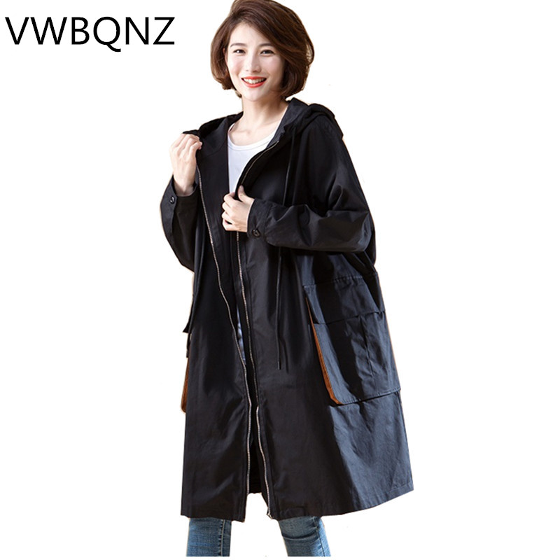 Oversized Women Hooded   Trench   Coats Korean Loose Black Long Coat Solid color Casual Female Windbreaker 2019 Spring Autumn New