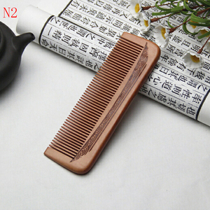 Image 5 - 1pcs Anti Static Comb Natural Peach Solid Wood Comb Engraved Peach Wood Healthy Massage Hair Care Tool Beauty Accessories
