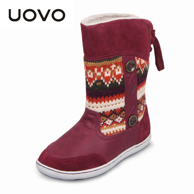 UOVO Mid-calf Snow Girls Boots Nonslip Plush Knitting Yarn Children Boots Kids Boots Winter Shoes Girls Christmas Boots 8 Colors uovo baby girls snow boots 2017 new faux fur plush kids high boots glitters children shoes soft sole winter boots for toddlers