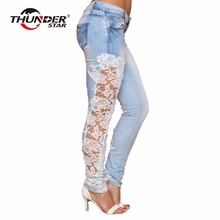 2017 Women Fashion Side Lace Jeans Hollow Out Skinny Denim Jeans Woman Pencil Pants Patchwork Trousers for Women Ropa Mujer