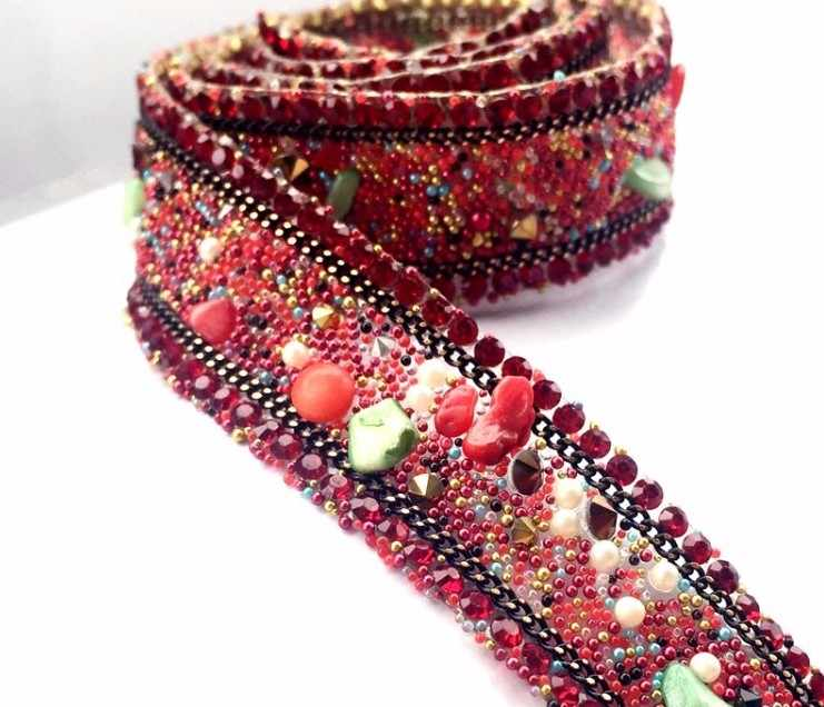 1 ярд/lot 1.7 см 0.66 &quotШирина Красный стразы камни бисер пояс одежда платье
