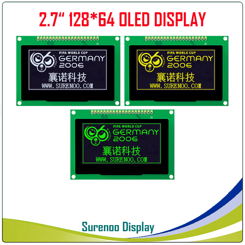 """Real OLED Display, 2.7"""" 128*64 12864 Graphic LCD Module Display Screen LCM Screen SSD1325 Controller Support Parallel SPILCD Modules   -"""