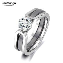 JeeMango 2 en 1 bague de mariage en cristal de céramique noir/blanc bijoux pour femmes AAA zircon cubique en acier inoxydable de fiançailles JR18071