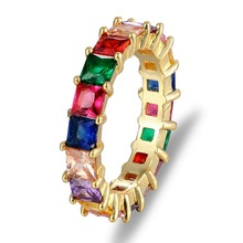 New Fashion Gold Filled Rainbow Bar Eternity Band Rings Square Baguette CZ Engagement Ring For Women Colorful Jewelry