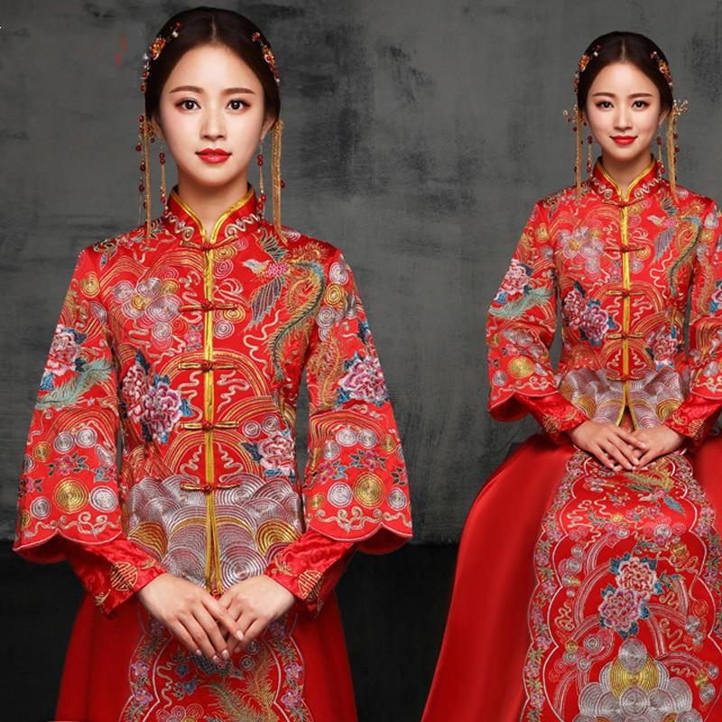 Traditional Chinese Women Cheongsam Vintage Marriage Qipao Suit Embroidery Phoenix&Flower Dress Bride Wedding Dresses Vestidos