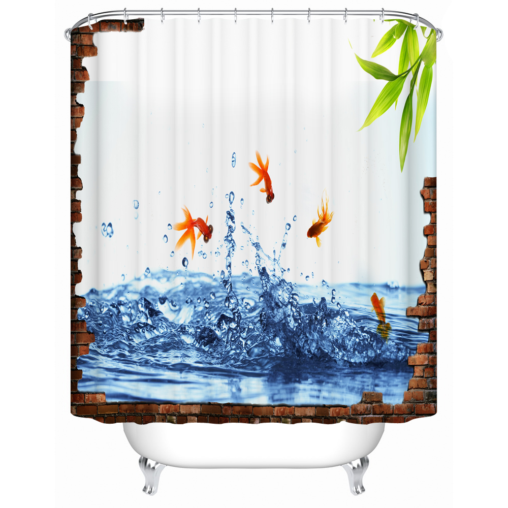 2016 New Eco Friendly Shower Curtains Cute Goldfish Bathroom Products  Waterproof Mildew Shower Curtains Bathroom