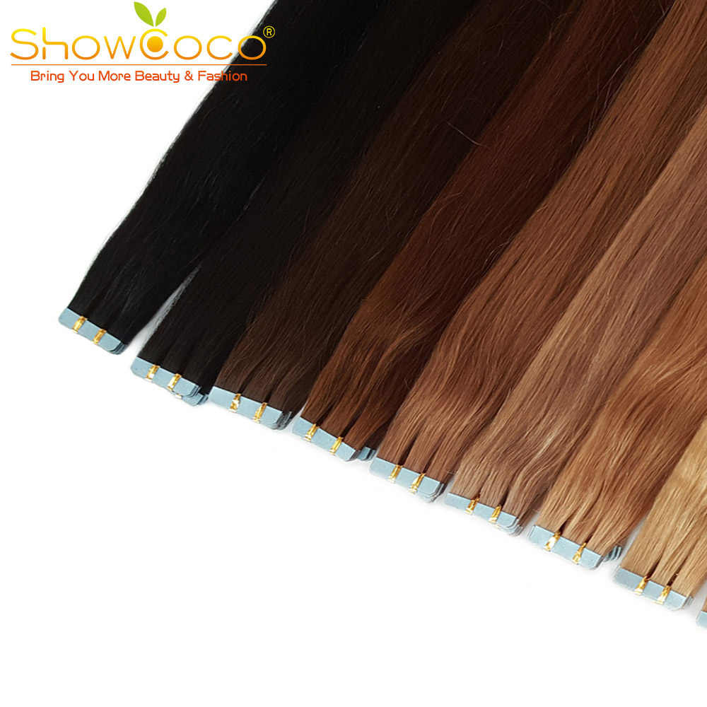 ShowCoco Tape in Real Human Hair Extensions Remy Invisible Double Sided Blue Tape Dark Colors Virgin Extension for Thin Hair