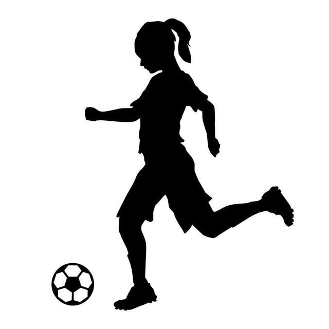 14.6CM*17.6CM Silhouette Girl Soccer Player Kicking Ball ...