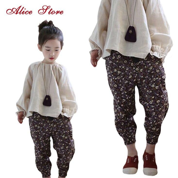 Girls Clothing Sets 2018 New Chinese Style Folk Custom Linen Lantern Sleeve Top Floral Harem Pants