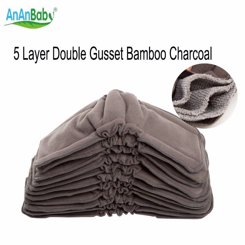 Ananbaby Bamboo Charcoal Pads Stay Dry Reusable nappies Bamboo Charcoal Gusset Inserts Washable Diapers Bamboo Inserts 5pc HA029