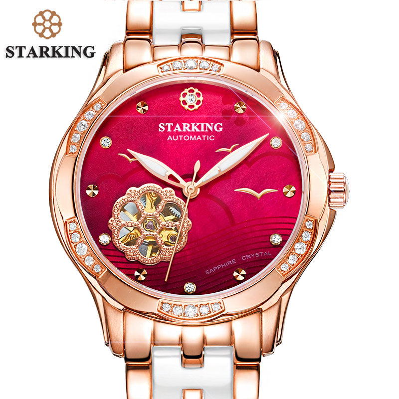 STARKING Top Brand di Qualità AAA Oro Rosa Orologio In Ceramica Delle Donne Charming di Scheletro Dell'orologio Meccanismo Signore Regalo Relogio Feminino