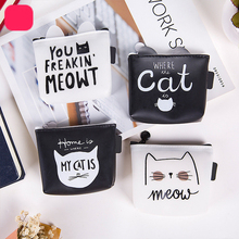 Cute cat creative coin purse Material silicone Cartoon female student key bag Small wallet