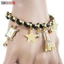 SHEEGIOR New Fashion Bracelet Bangles sweet Eiffel Tower Stars Weaved Pendants Gold color Charm Bracelets for Women Jewelry Gift