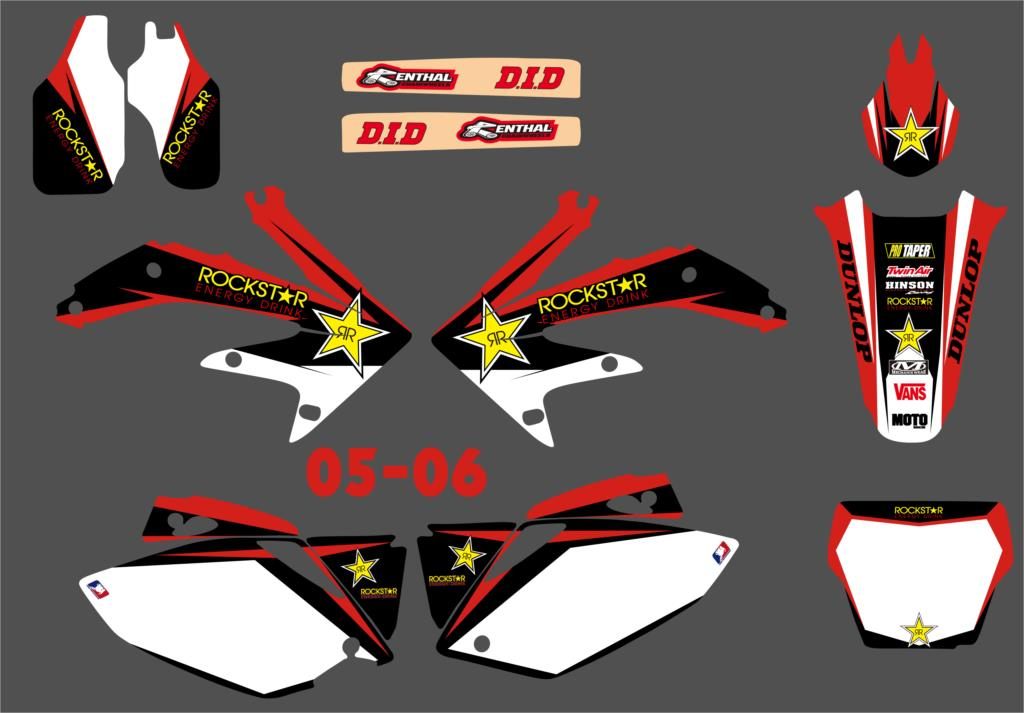 Motorcycle TEAM GRAPHICS & BACKGROUNDS DECALS STICKERS For Honda CRF450 CRF450R CRF 450 450R 2005 2006 2007 2008
